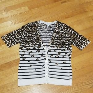 NY&CO Animal Print Stripe Short Sleeve Cardigan